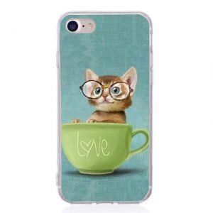 Cute cat in the cup phone case for iPhone